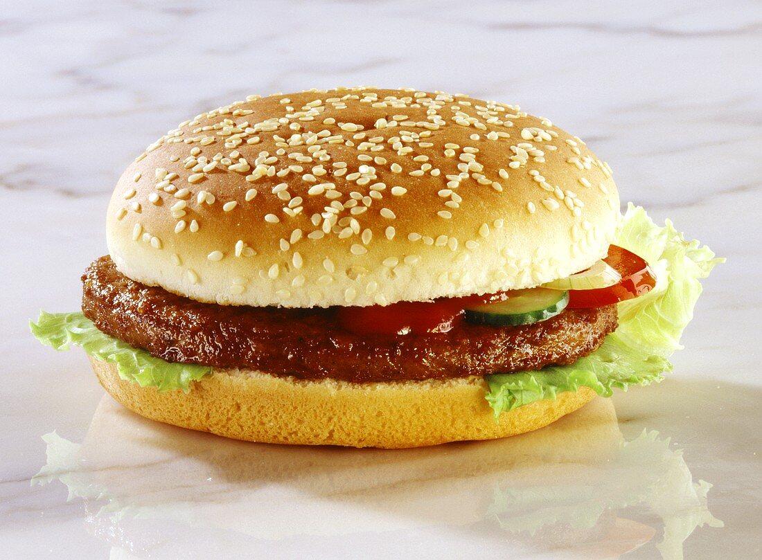 Hamburger on Sesame Seed Bun