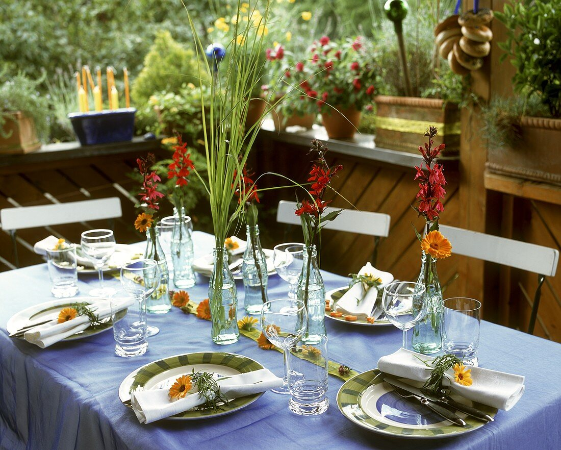Table laid for summer party or garden party