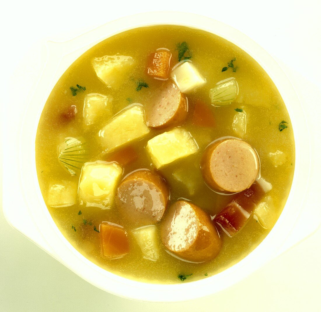 Potato soup with slices of sausage