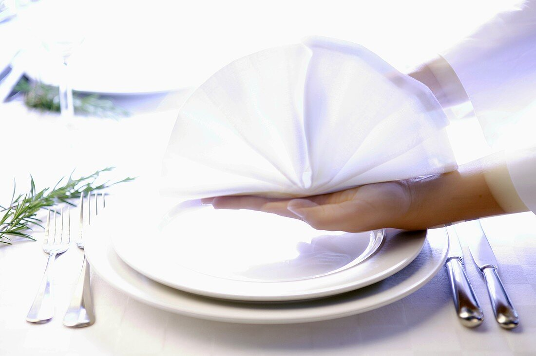 Hands placing decoratively folded napkin on a place setting