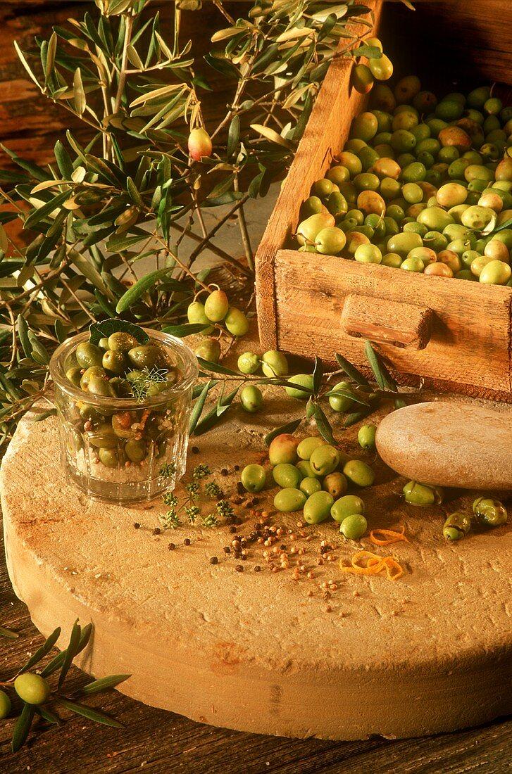 Lightly crushed olives pickled Provencal style