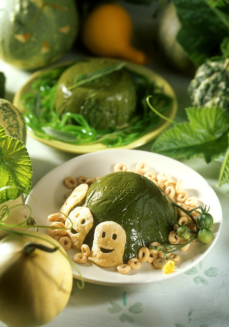 Spinach mousse for witch's party