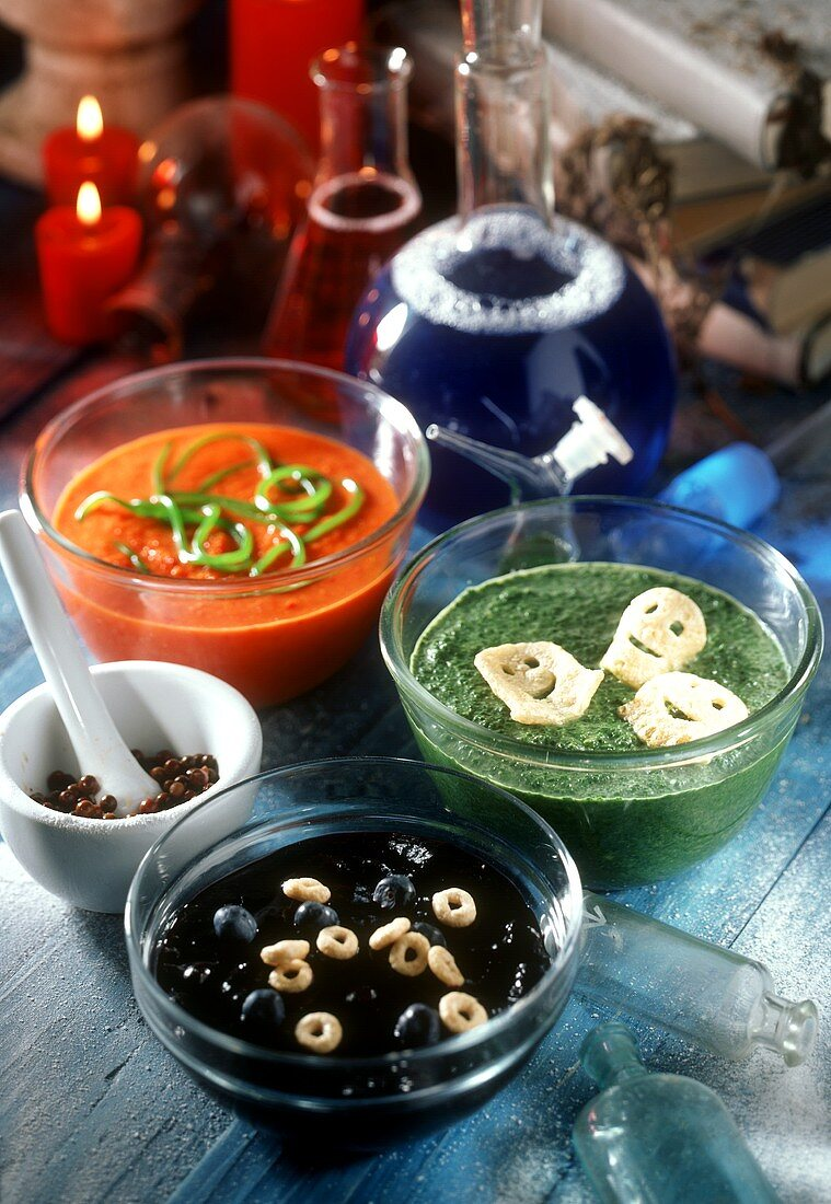 Fruit and vegetable soups for witch's party