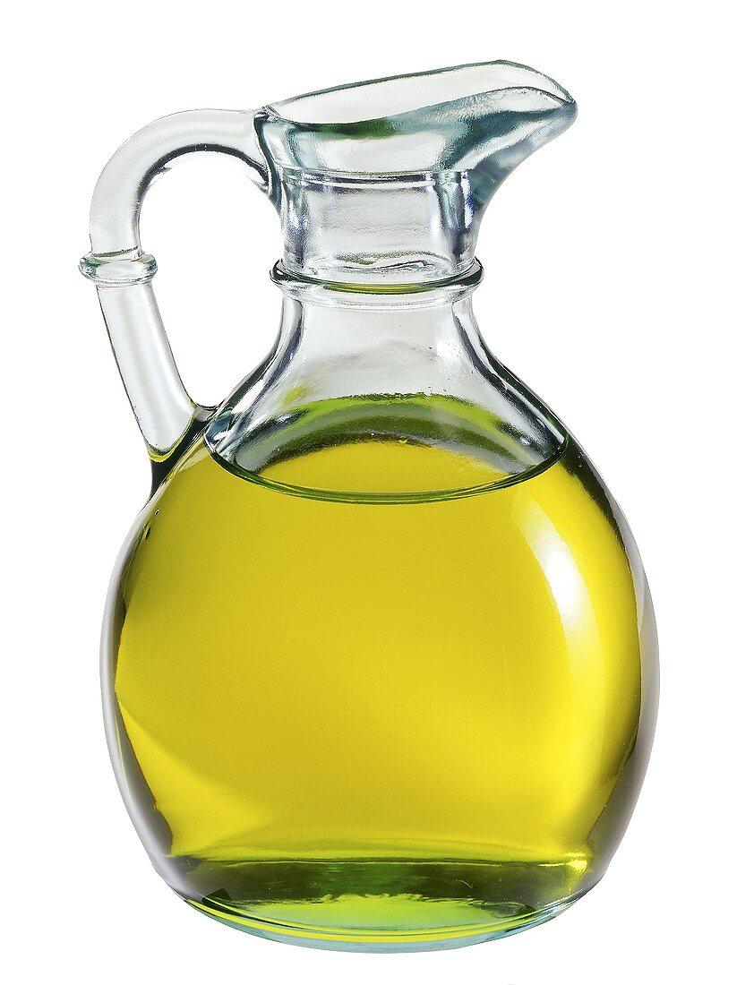Glass jug of olive oil