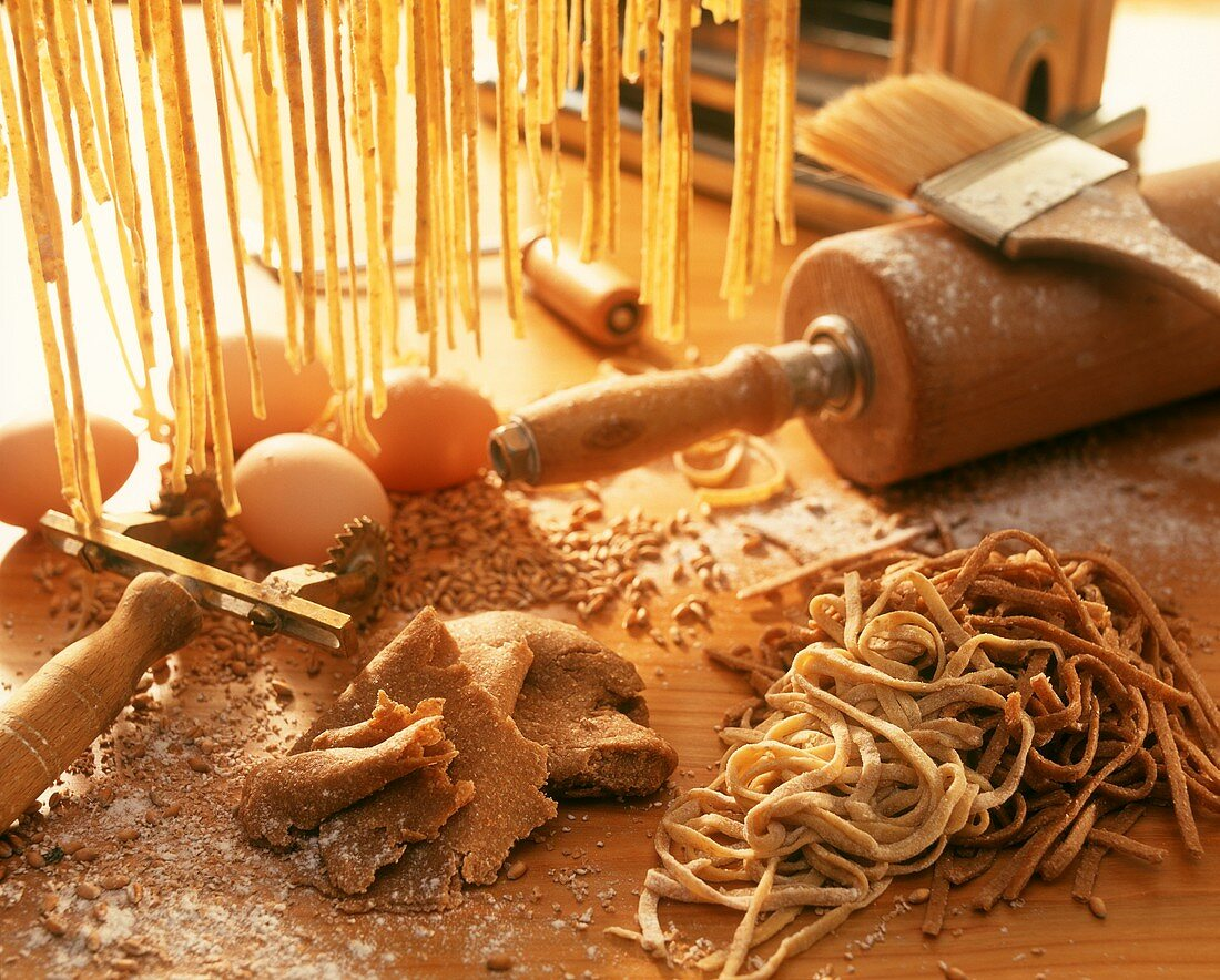 Still life with ingredients for home-made wholemeal noodles