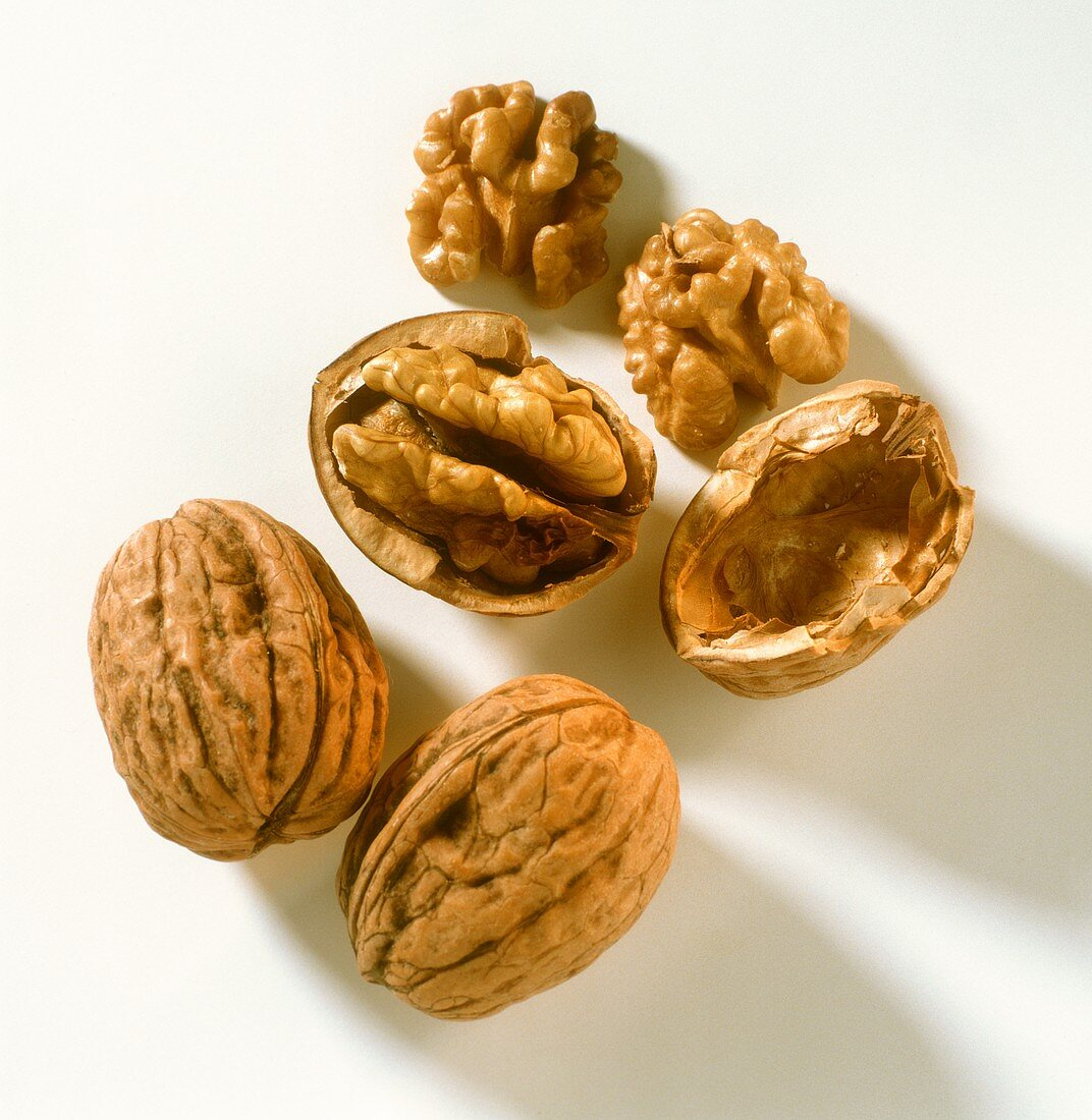 Two whole and one opened walnut