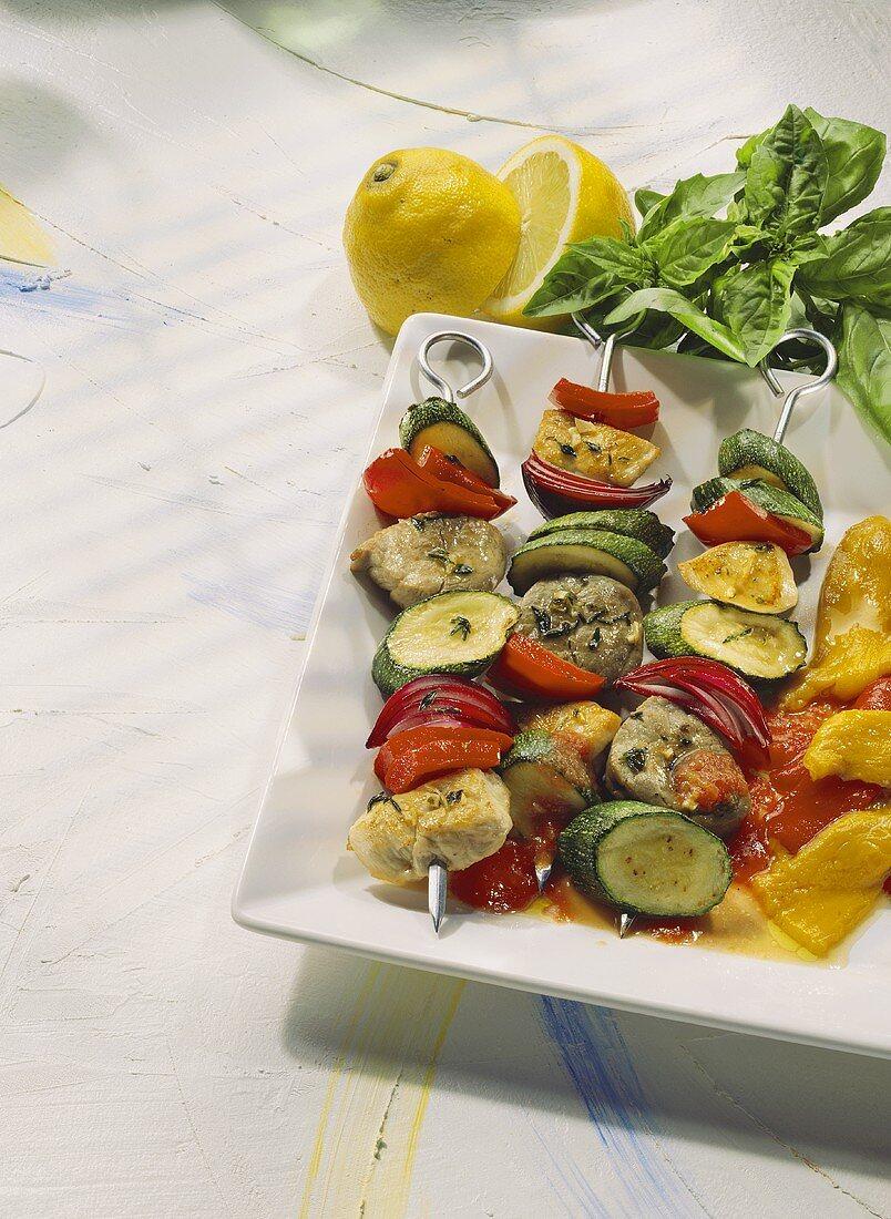 Meat Skewers with Vegetables