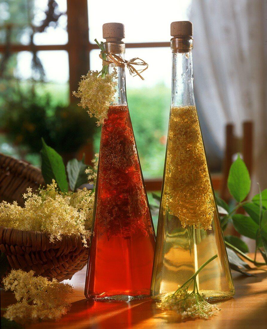 Elderflower vinegar (red & white wine vinegar with flowers)