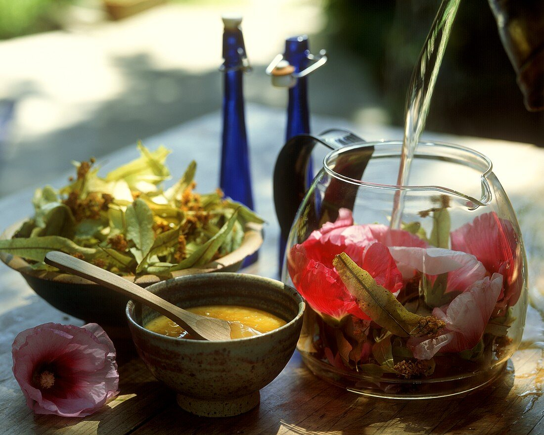 Making tonic lotion with linden & mallow flowers, honey etc.