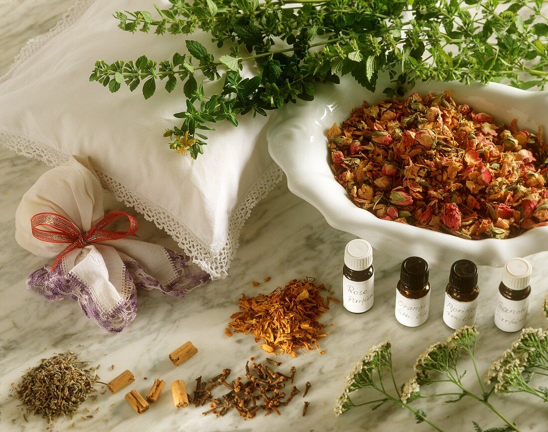 Various essential oils and perfumed pot-pourri