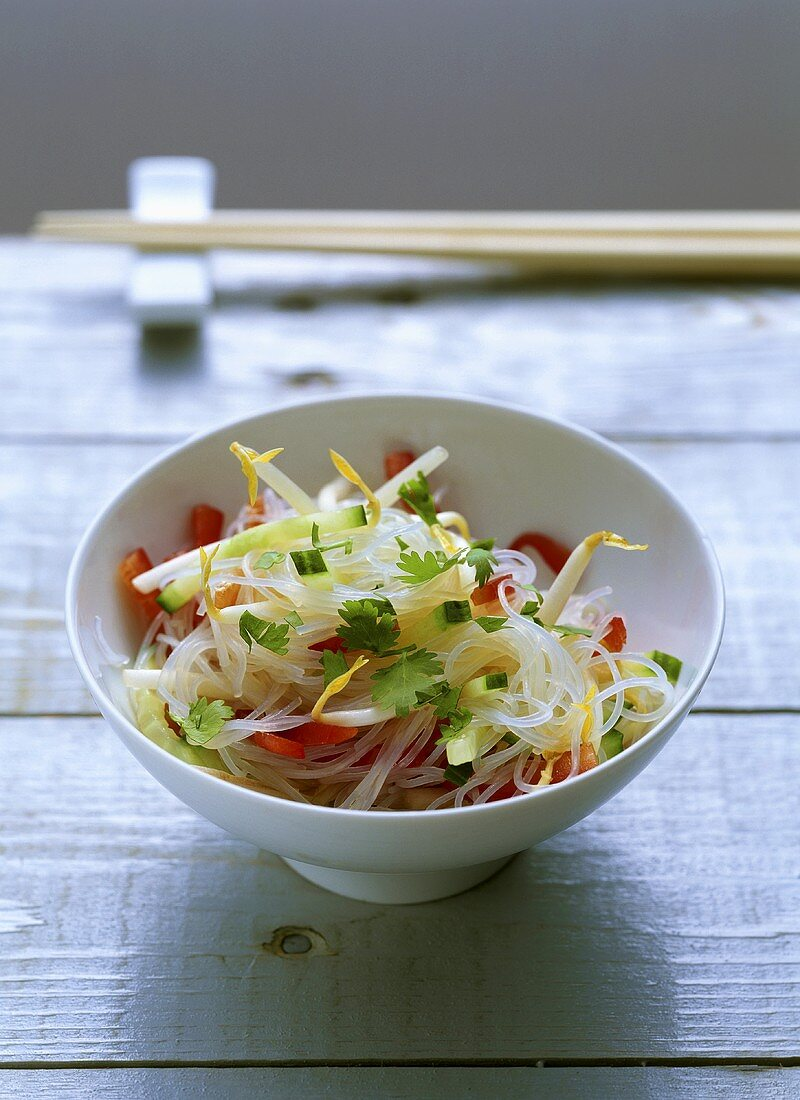 Glass noodle salad with soya sprouts and vegetables