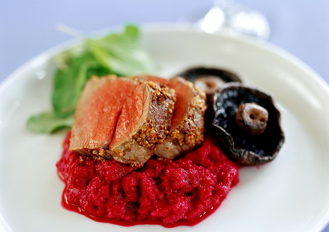 Roast beef with mustard crust and beetroot puree