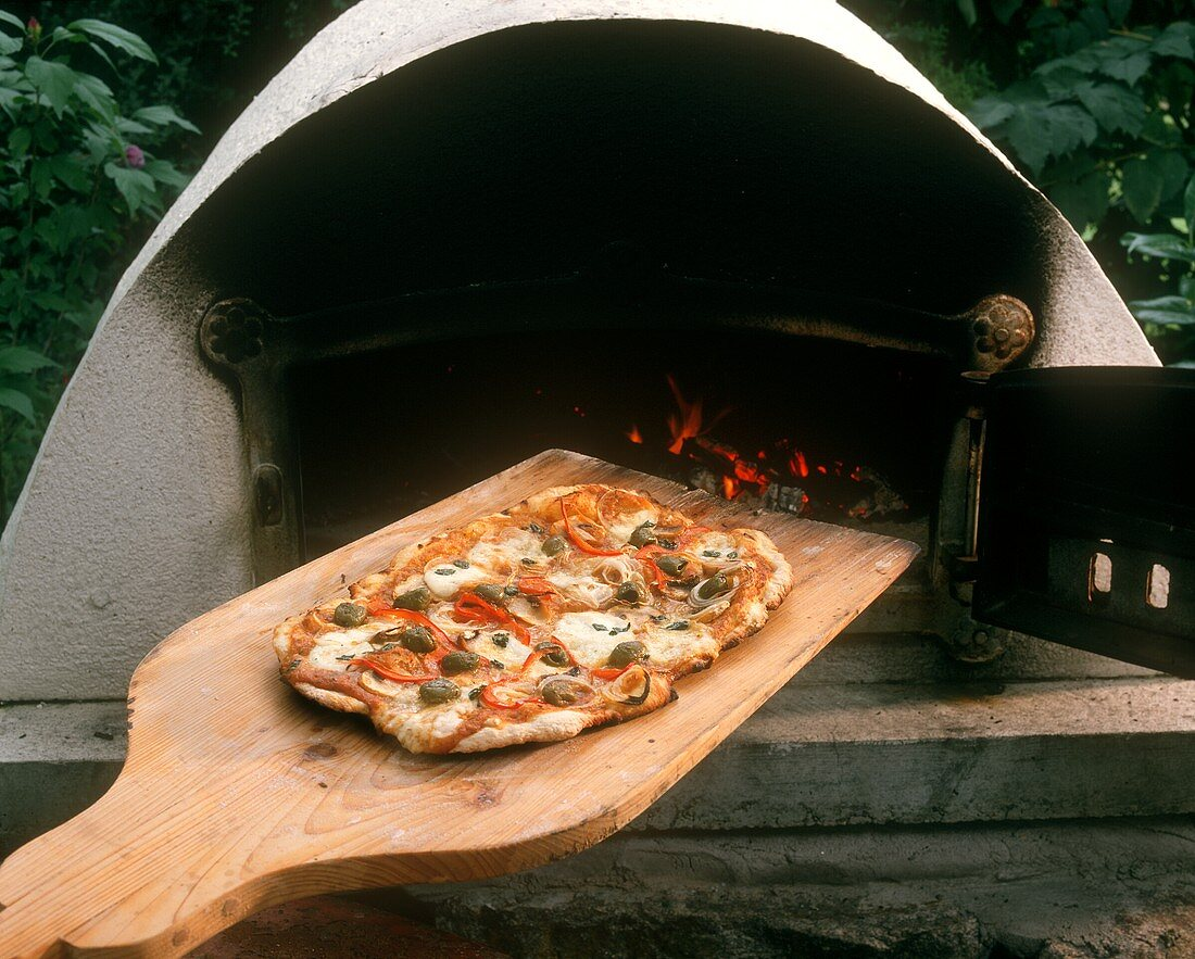 Pizza on wooden paddle in front of pizza oven