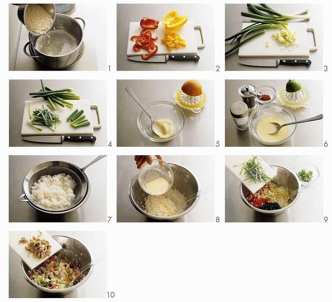Making tuna and rice salad
