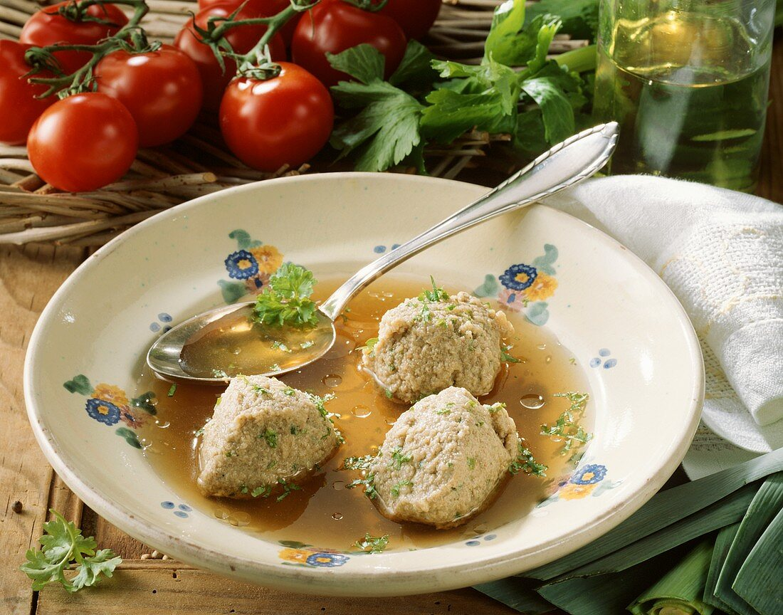 Liver dumpling soup (from S. Germany)