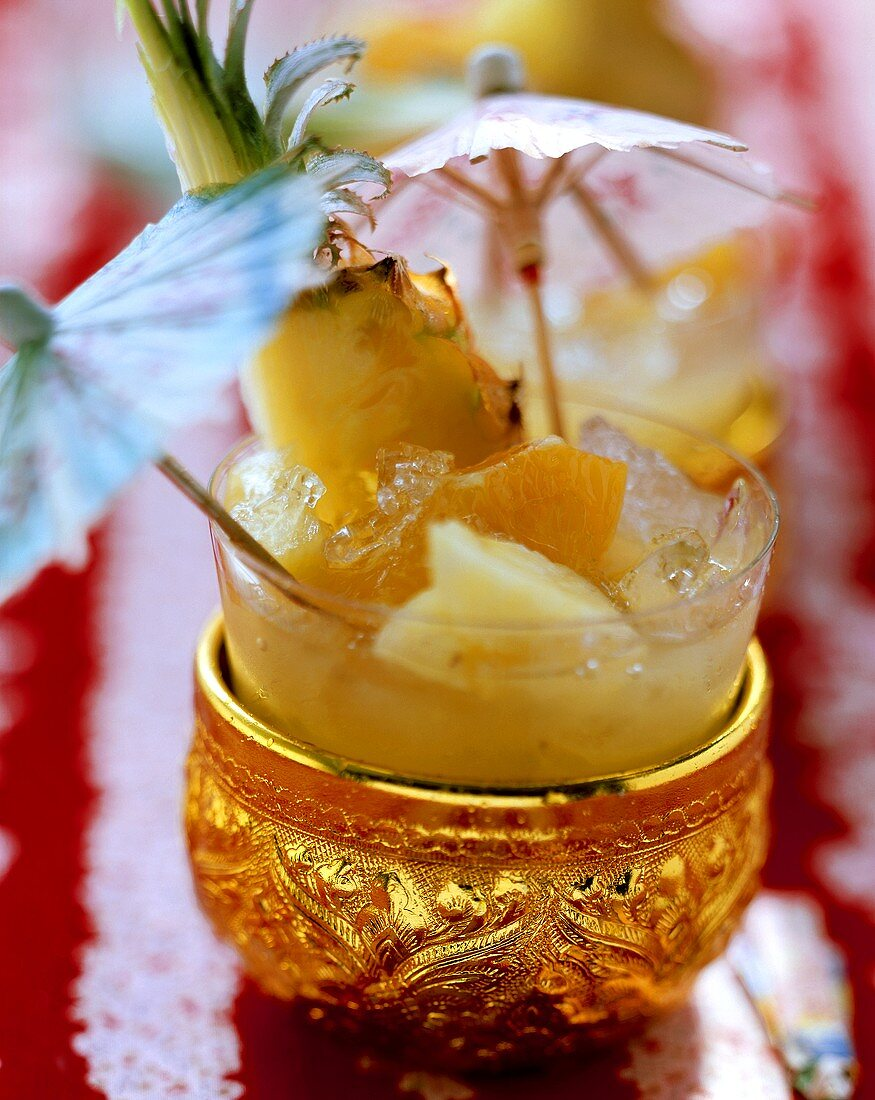 Exotic white wine punch (with fruit and coconut syrup)
