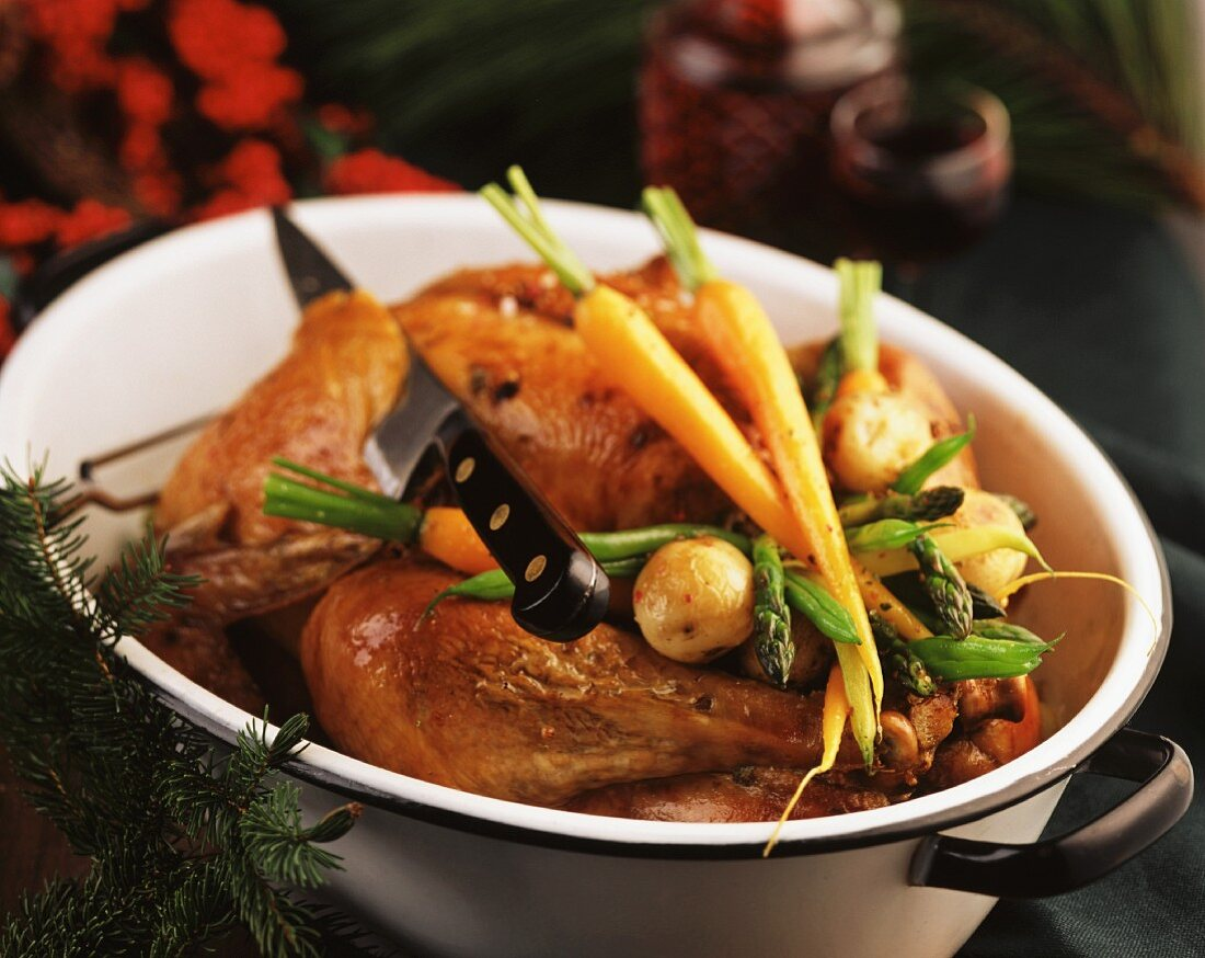 Dinde aux marrons (turkey with chestnut stuffing, France)