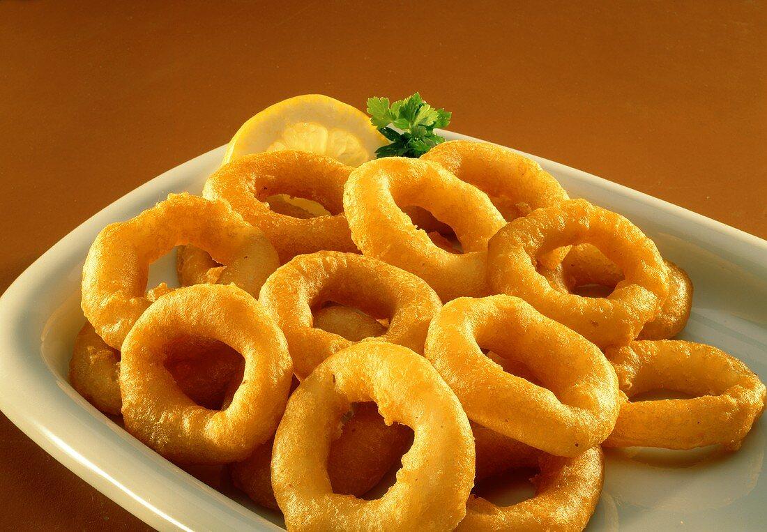 Deep-fried onion rings in batter