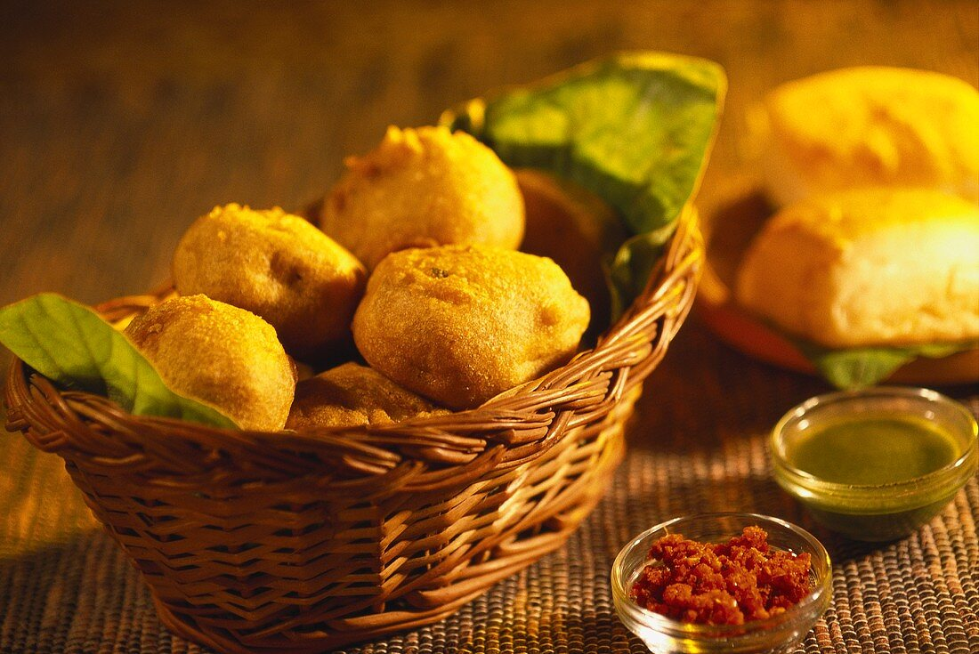 Vada pav (vegetable balls, fast food from Bombay, India)