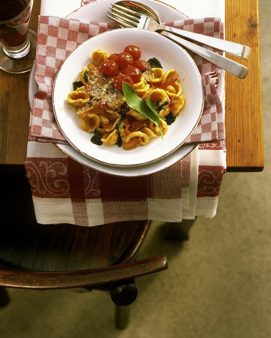Orecchiette alla sarda (Pasta dish with cocktail tomatoes)