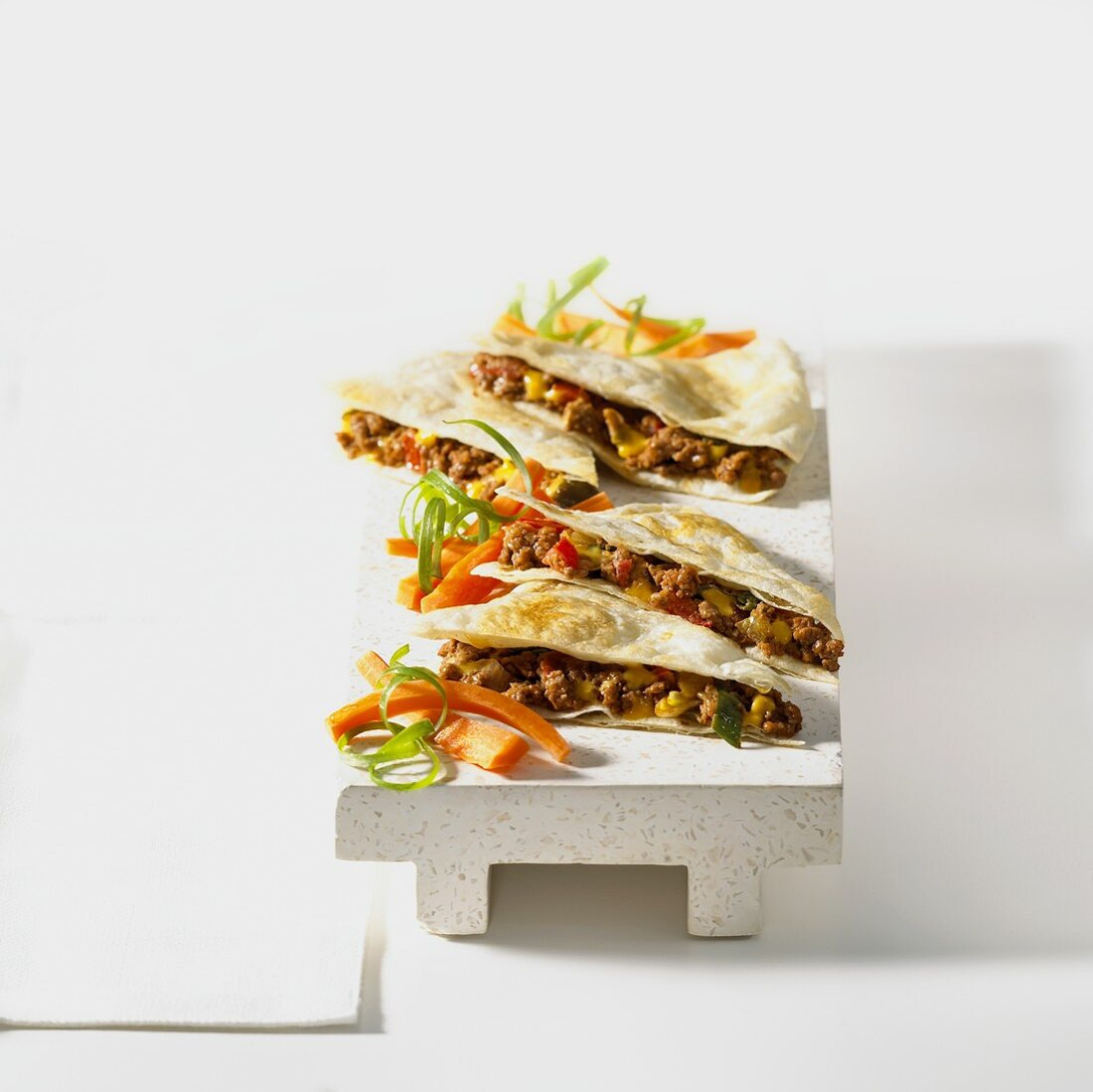 Quesadillas with mince and sweetcorn filling