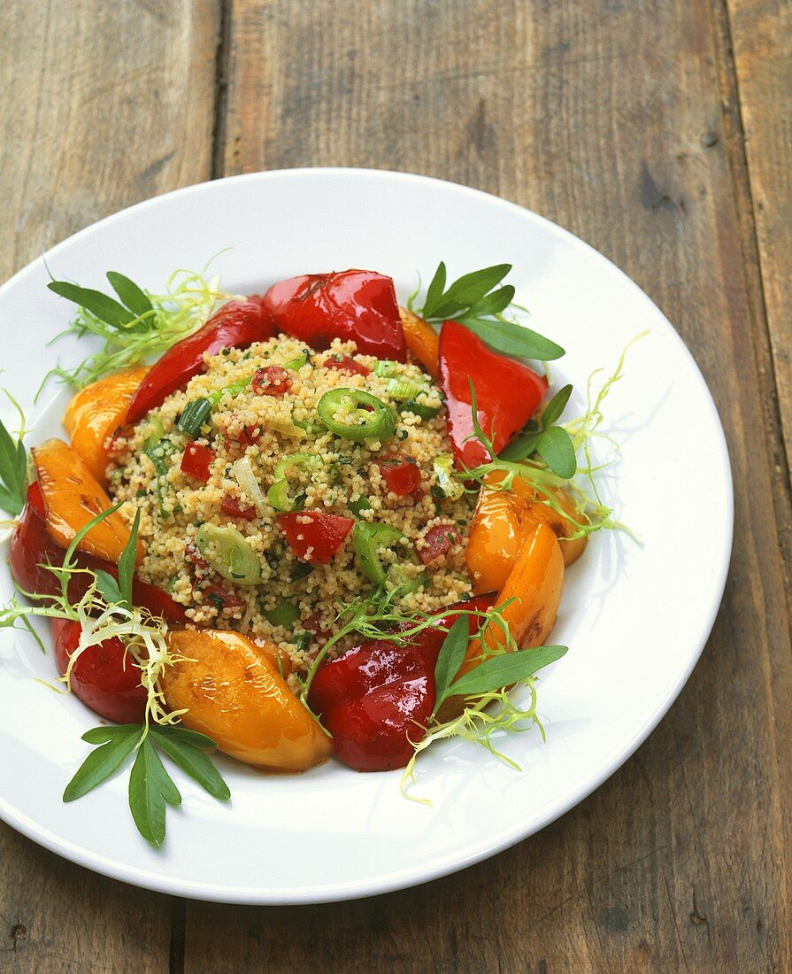 Couscous with pickled peppers and chili peppers