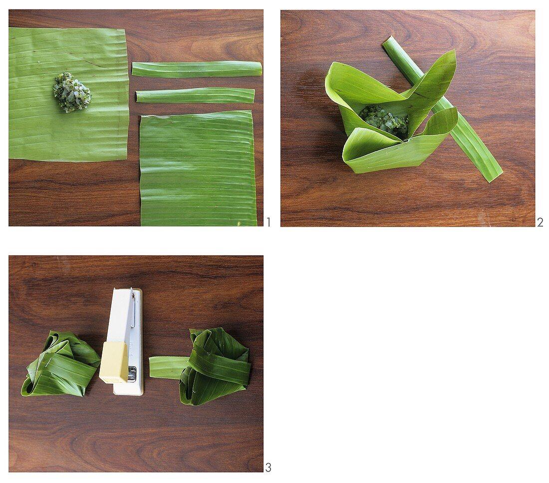 Making banana leaf parcels