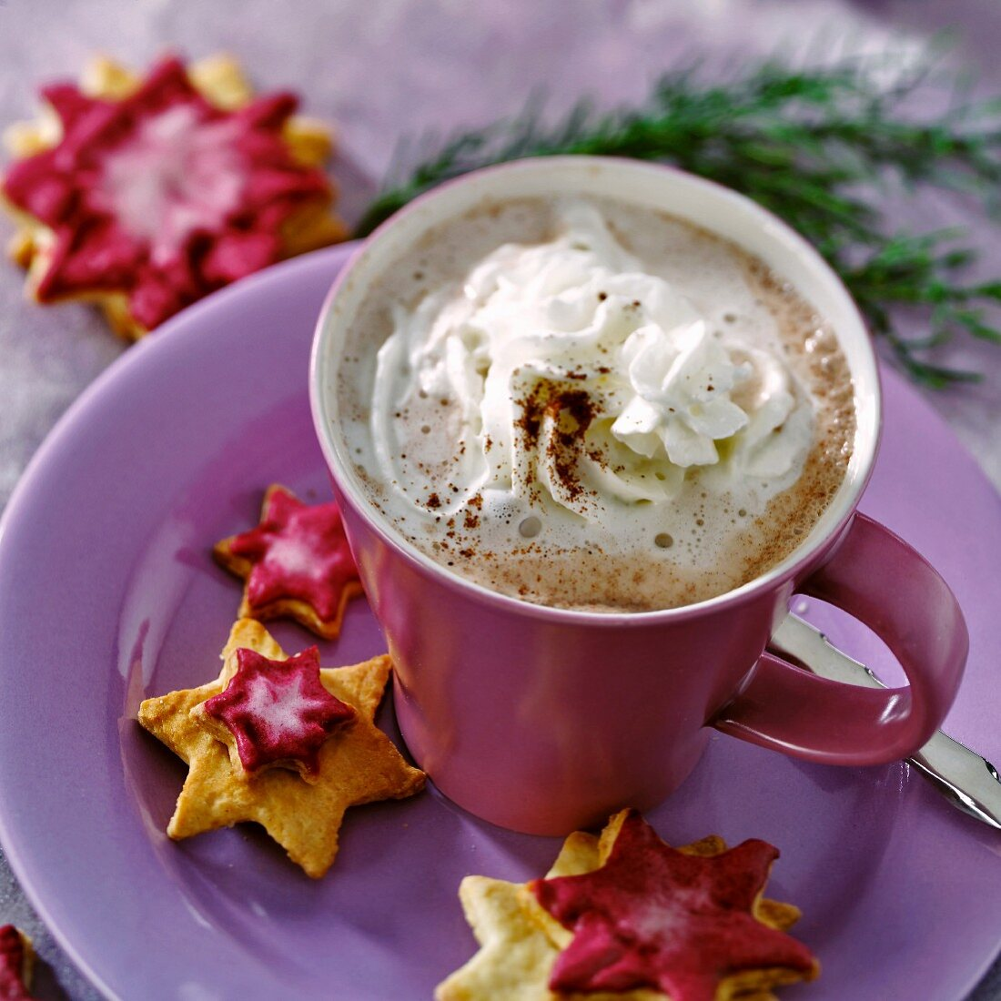 Hot chocolate with star-shaped biscuits