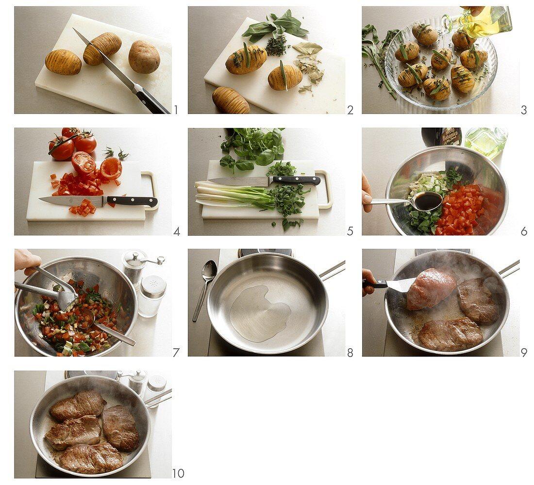 Preparing rump steak with herb potatoes and tomato salsa