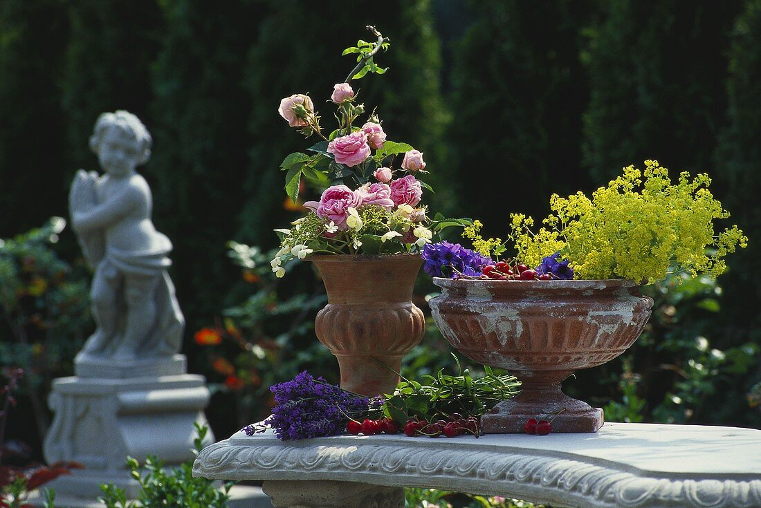 Flowers and cherries arranged in terracotta urns