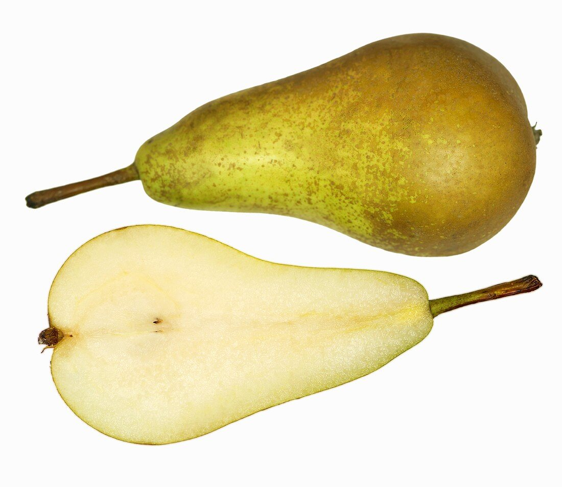 One half and one whole Williams pear