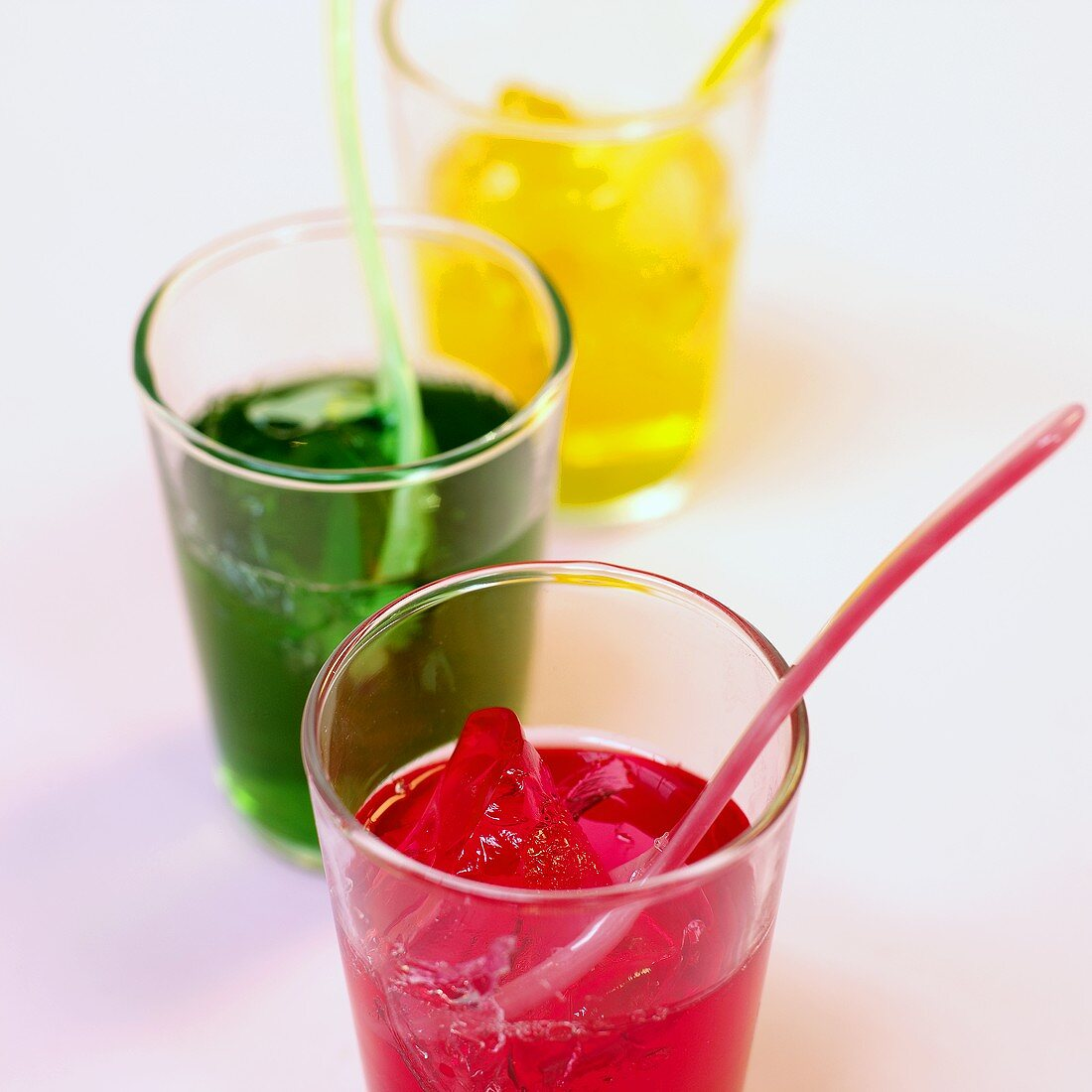 Coloured Jelly Shots (agar jelly, fruit syrup and vodka)