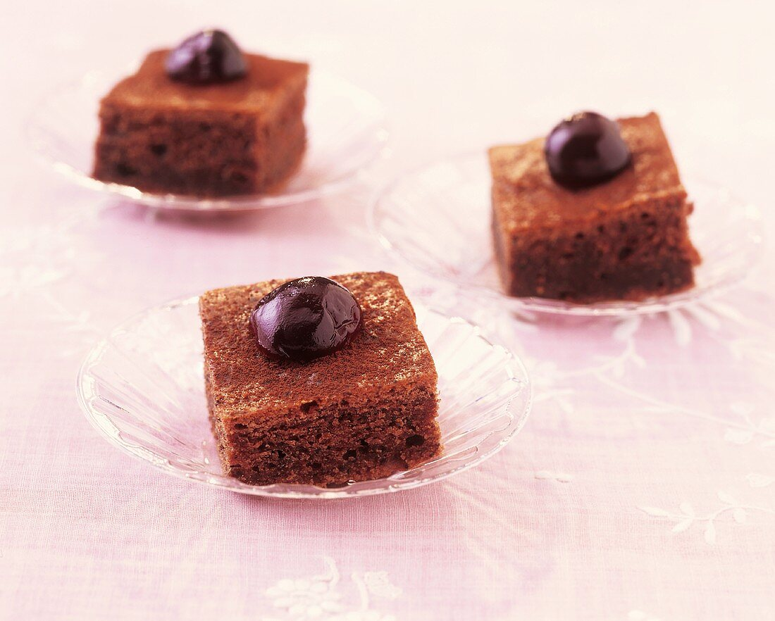 Punch squares with Amarena cherries