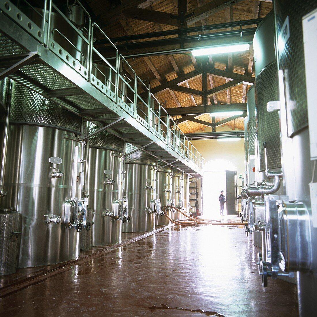 Stainless steel tanks, Planeta Winery, Sambuca di Sicilia