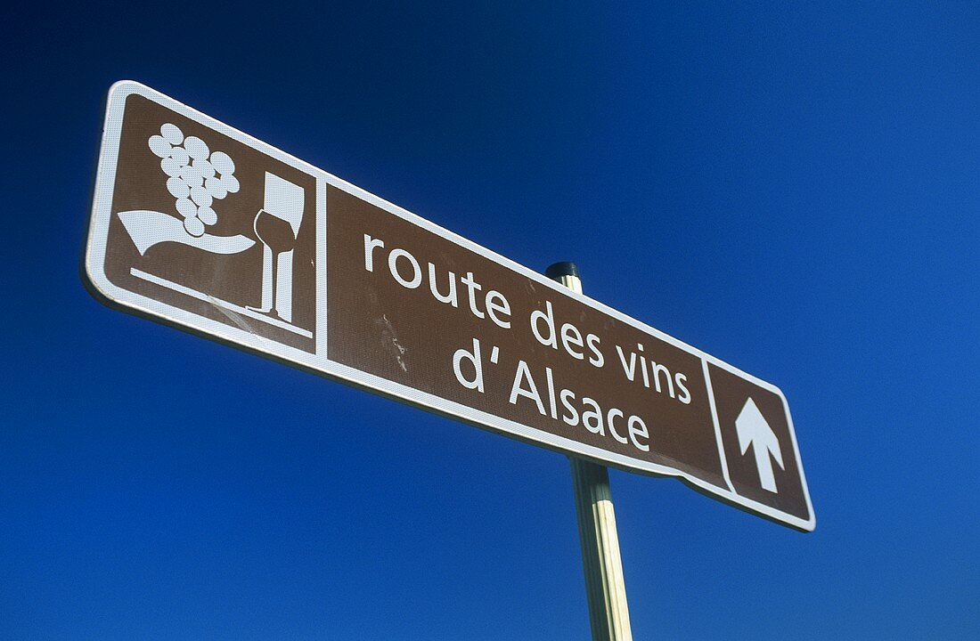 Signpost for Alsace Wine Route in France