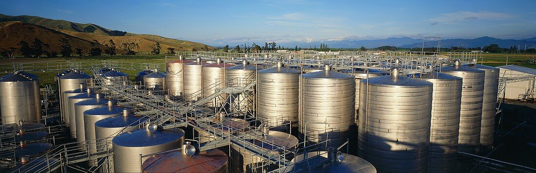 Steel tanks in Blenheim, Marlborough, N. Zealand