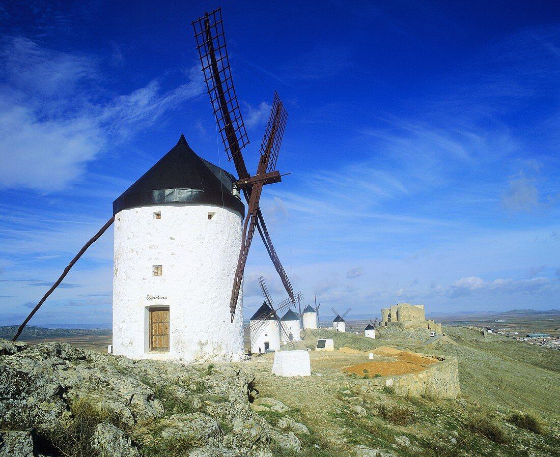 Windmills at Consuegra in La Mancha, Spain