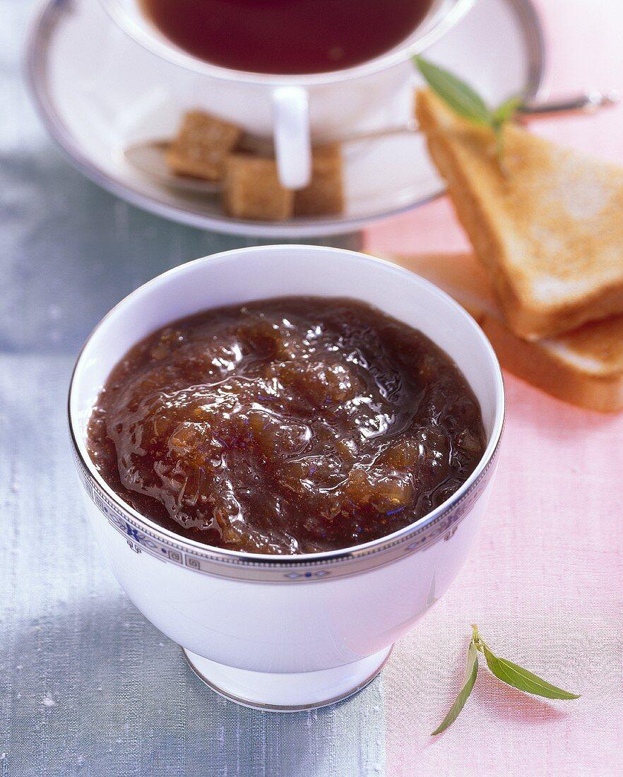 Rhubarb and ginger jam, tea and toast