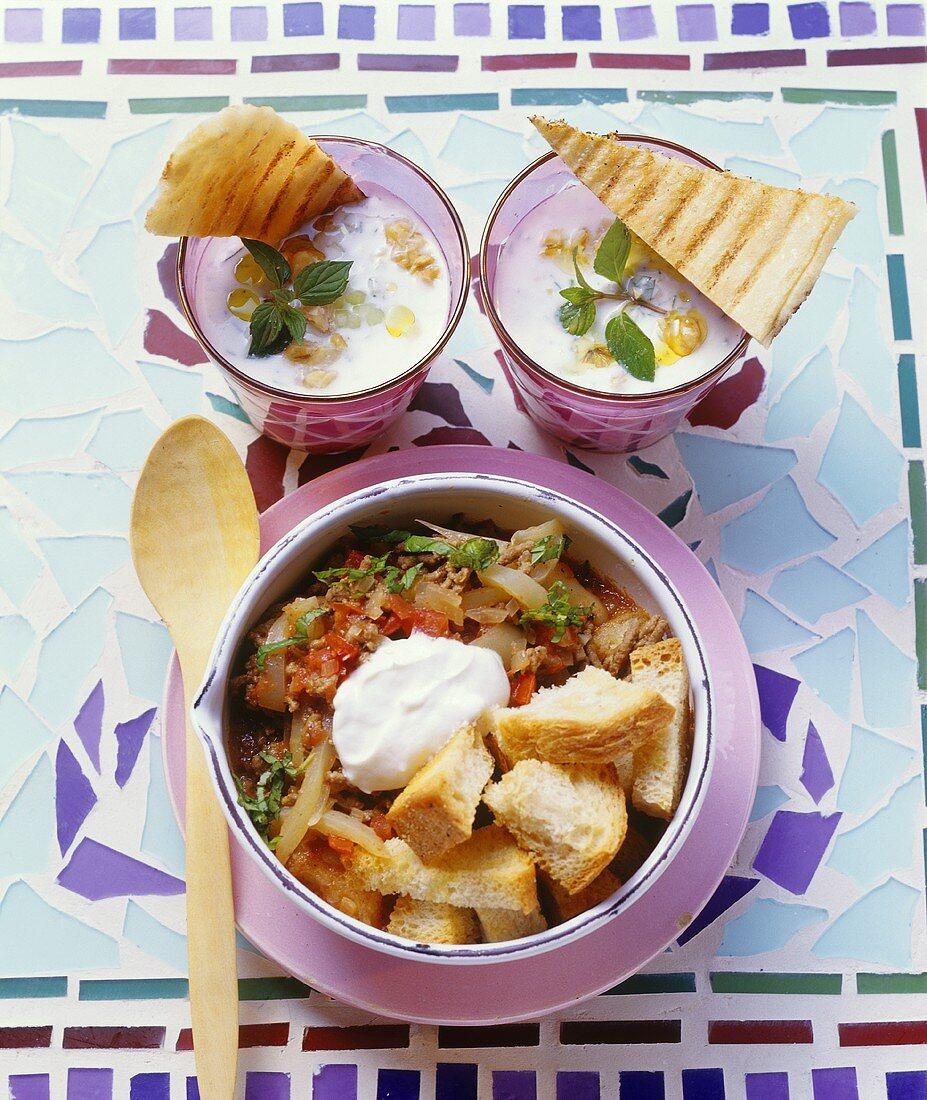Cacik & Papara (Cucumber soup with walnut & bread soup, Turkey)