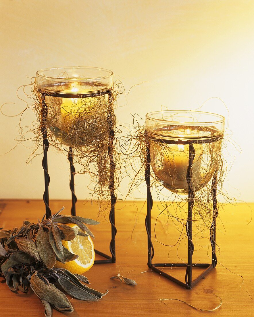 Sage and lemon with small garden lights in metal stands
