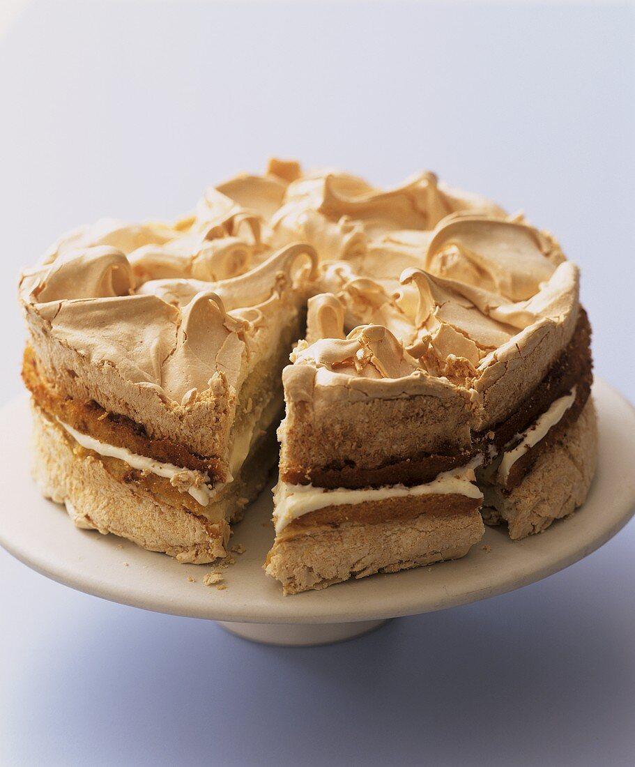Meringue cake filled with lemon cream (Aga Cooking)