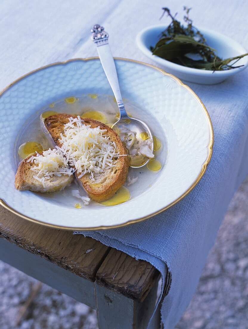 Aigo boulido (garlic soup, S. France)