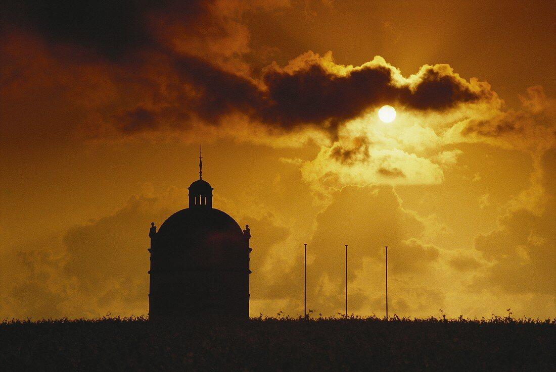 Top estate Chateau Latour at sunrise, Bordeaux, France