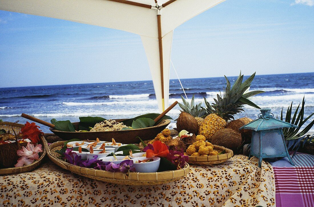 Caribbean Buffet on the Beach; Rice and Beans with Shrimp and Tropical Fruit