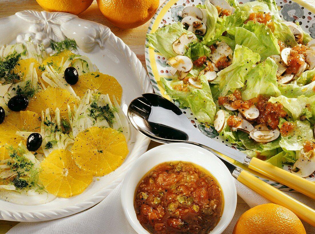 Fennel & orange salad, iceberg lettuce, tomato sauce,mushrooms