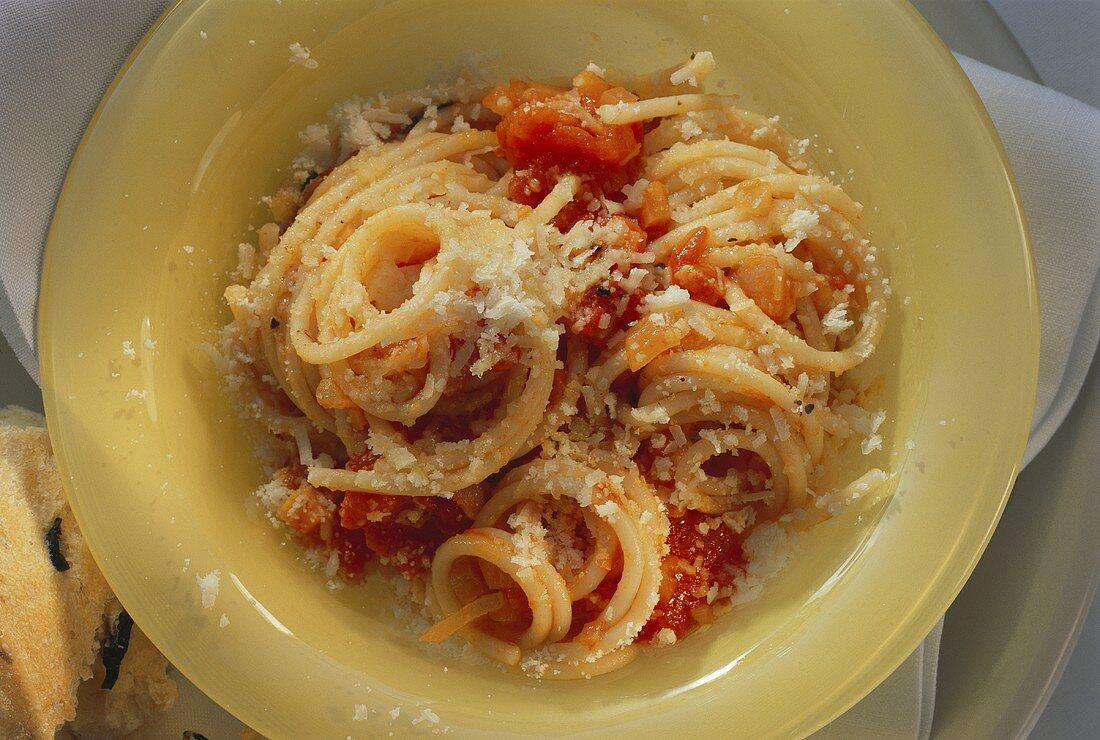 Spaghetti with tomato sugo and Parmesan