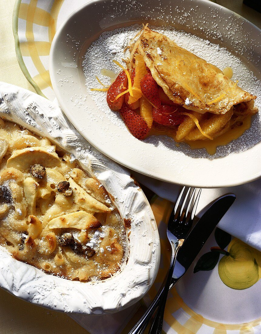 Pasta Omelet Stuffed with Oranges and Strawberries; Apple Pasta Bake