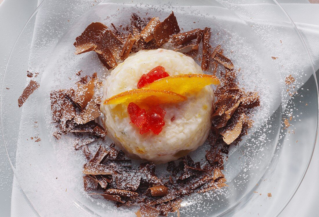 Rice Pudding Mold with Candied Fruit and Chocolate Shavings