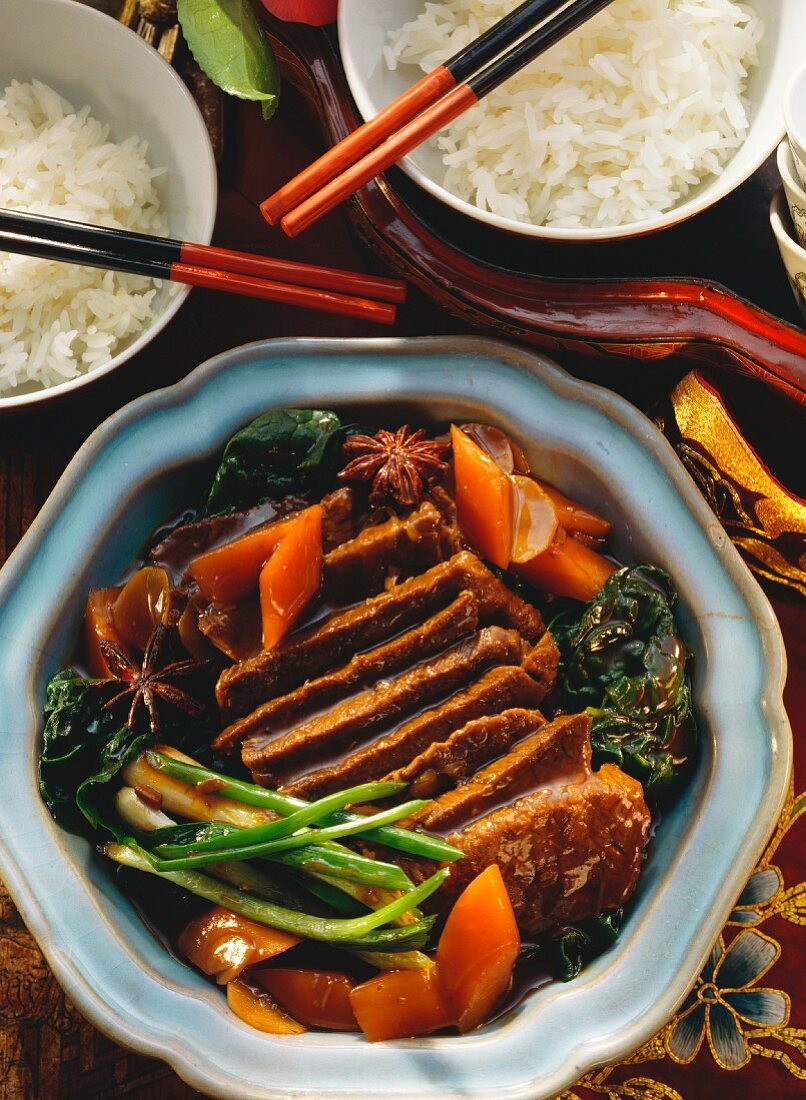 Beef in soy sauce with vegetables and star anise