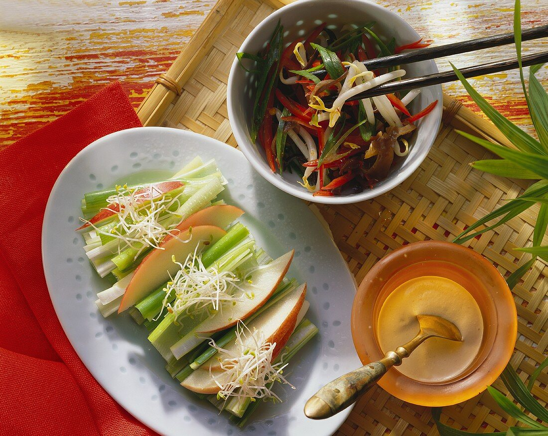 Spring onions with alfalfa sprouts & sprout salad